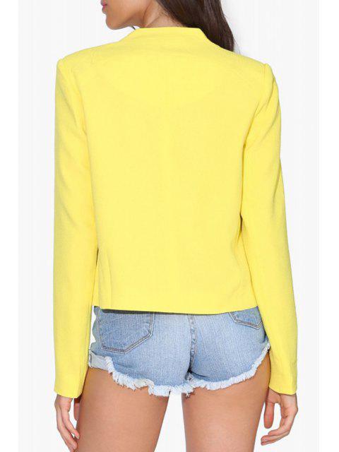 trendy Solid Color Simple Design Blazer - YELLOW L Mobile
