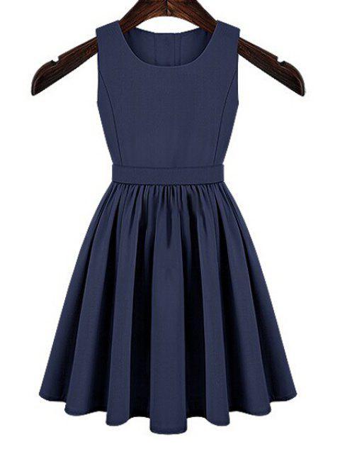online Solid Color Cut Out Button Dress - BLUE XL Mobile