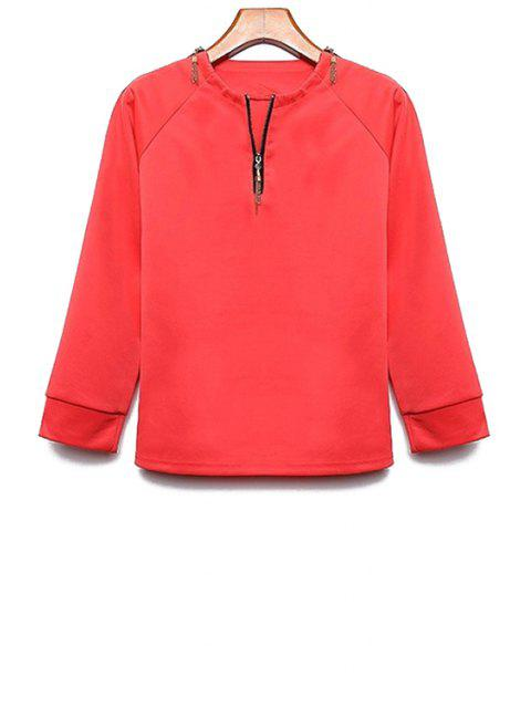 ladies Long Sleeve Zipper Design T-Shirt - RED XL Mobile
