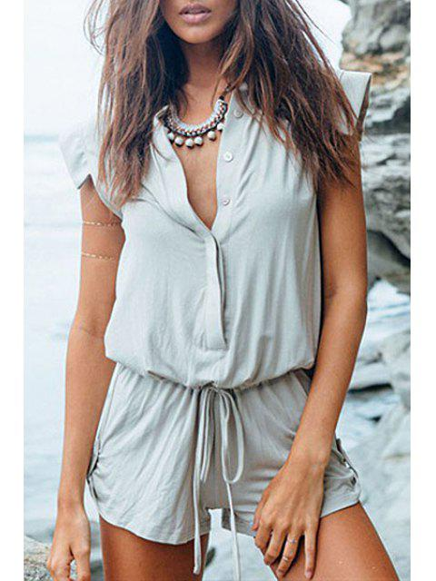 outfit Sleeveless Solid Color Playsuit - LIGHT GRAY S Mobile