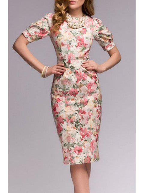 women Slimming Floral Print Short Sleeve Dress -   Mobile