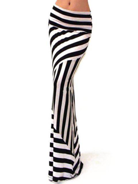 shop Stripes Packet Buttocks Long Fishtail Skirt - WHITE AND BLACK XL Mobile