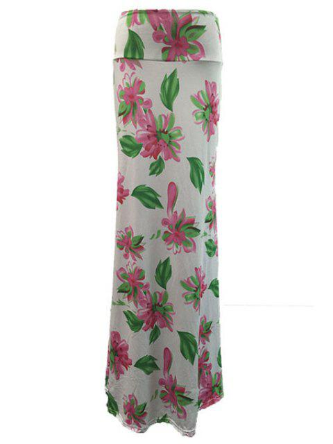 outfits High-Waisted Flower Print Long Bodycon Skirt - WHITE XL Mobile
