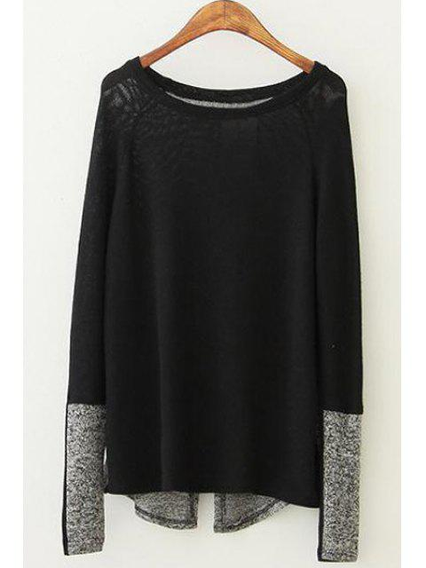 fashion Color Block Long Sleeve Pullover Sweater - BLACK M Mobile