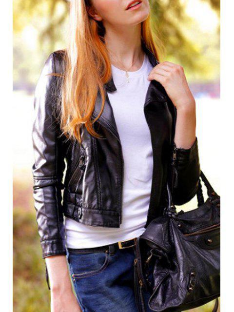 shop Black Long Sleeve Faux Leather Zipper Jacket - BLACK S Mobile