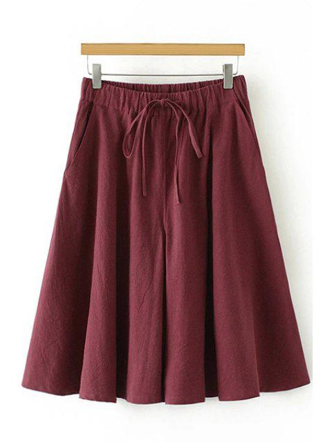 trendy Linen Elastic Waist Drawstring Capri Pants - WINE RED M Mobile