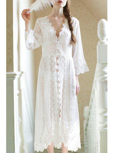 women's White Plunging Neck Long Sleeve Sleepwear - WHITE M Mobile