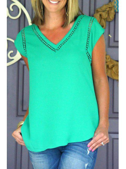 V Neck Green Lace Splicing T-shirt à manches courtes - Vert L Mobile