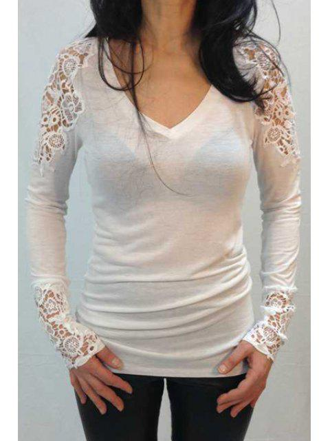 womens Long Sleeve Lace Spliced T-Shirt - WHITE L Mobile