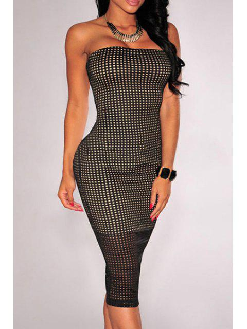 best Checked Pattern Strapless Pencil Dress - BLACK M Mobile