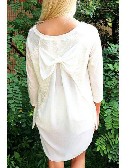 Bowknot Embellished High Low T-Shirt - Blanc XL Mobile