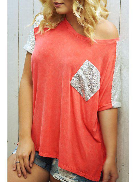 T-shirt à poche marbré à blocs de tige oblique - Orange M Mobile
