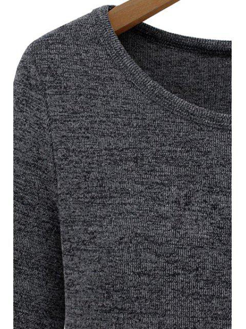 T-shirt épicé à manches longues en mousseline de soie - Rouge vineux  M Mobile