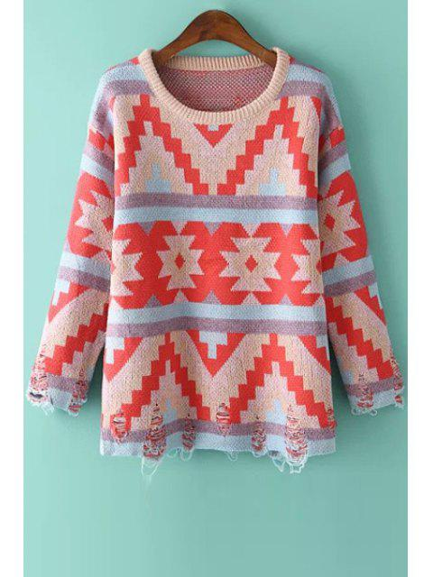 chic Geometric Print Broken HoleJumper - COLORMIX ONE SIZE(FIT SIZE XS TO M) Mobile