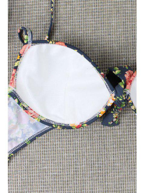 Tiny Floral Print Halterneck Ensemble de bikini - Rouge L Mobile