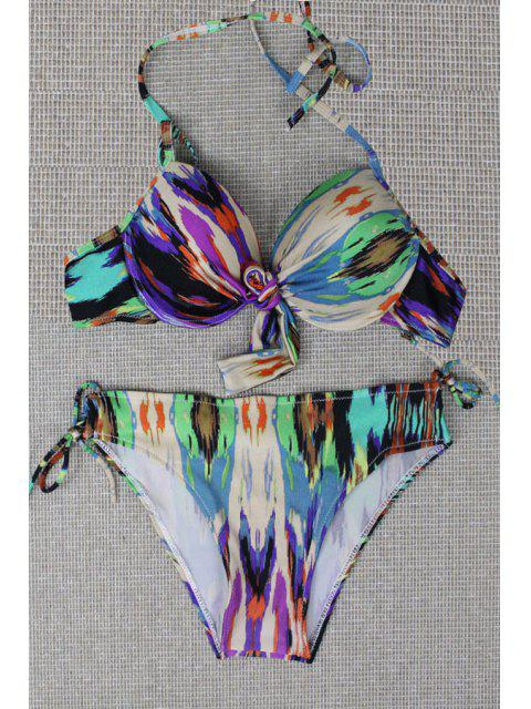 latest Print Halter Bikini Set - LIGHT GREEN L Mobile