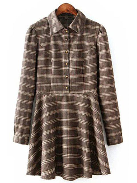 shop Long Sleeve Ruffled Plaid Shirt Dress - COLORMIX S Mobile
