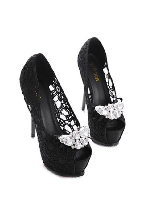 buy Rhinestones Lace Platform Peep Toe Shoes -   Mobile