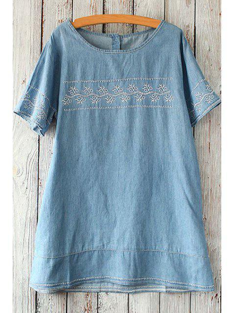 Embroidered Denim Tunic Top - Azul claro Tamanho Único(Ajusta Mobile