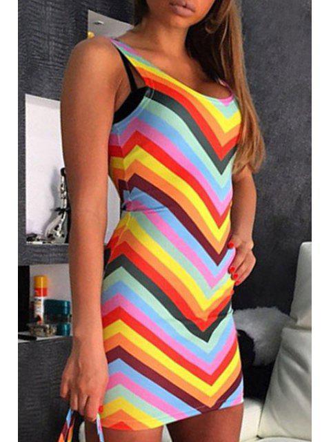 unique Zig Zag Bodycon Rainbow Dress - COLORMIX ONE SIZE(FIT SIZE XS TO M) Mobile