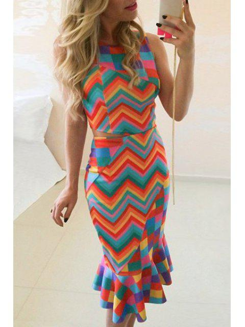 online Zig Zag Print Round Neck Sleeveless Dress - COLORFUL S Mobile