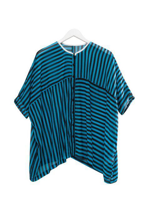 Stripe See-Through shirt manches demi - Bleu et Noir 2XL Mobile