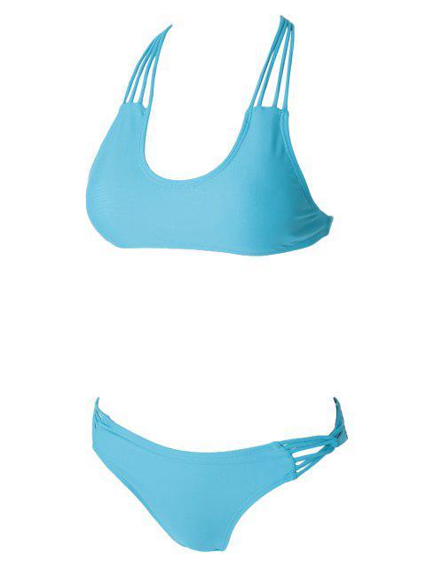 Ensemble de bikini coulé en forme de couleur solide - Bleu M Mobile