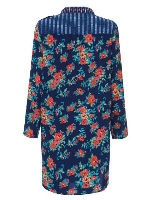 outfits Print Spliced Stand Neck Long Sleeve Dress - PURPLISH BLUE M Mobile
