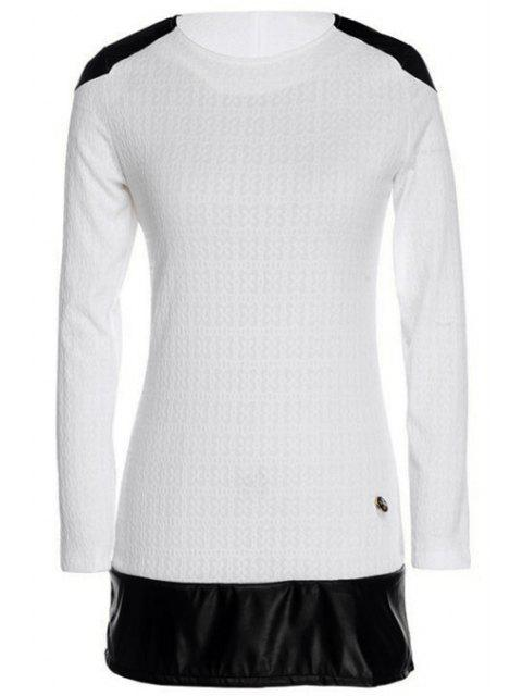 ladies Long Sleeve Color Block Spliced Dress - WHITE XL Mobile