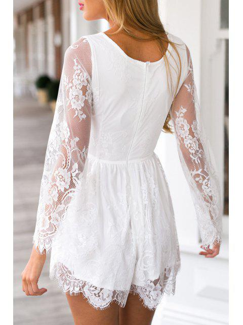 new See-Through Lace Splicing Long Sleeve Playsuit - WHITE M Mobile