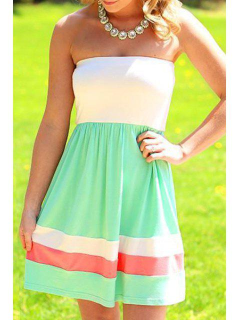 affordable Strapless Color Block Stripes Sleeveless Dress - WHITE AND GREEN S Mobile