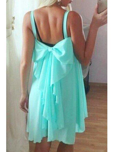 fancy Spaghetti Strap Backless Bowknot Sleeveless Dress - AZURE L Mobile