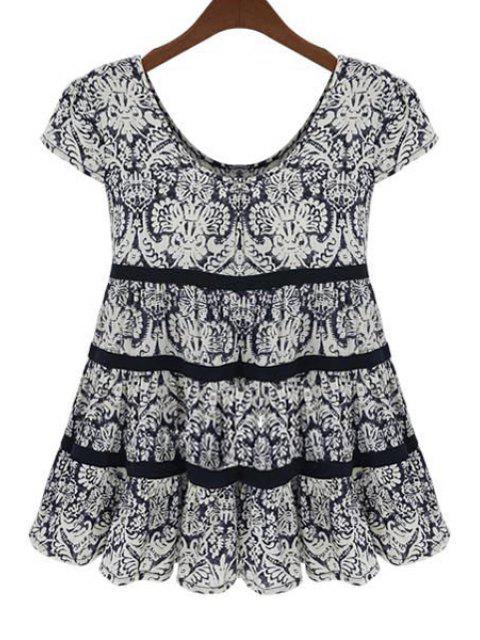 shops Scoop Neck Black Printed Short Sleeve Blouse - BLACK 3XL Mobile