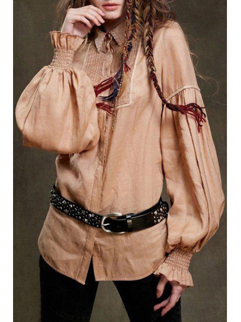 womens Long Lantern Sleeve Pleated Shirt - APRICOT L Mobile
