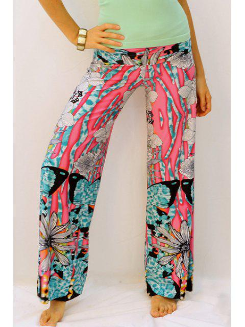 shop Butterfly Print Elastic Waisted Exumas Pants - RED XL Mobile