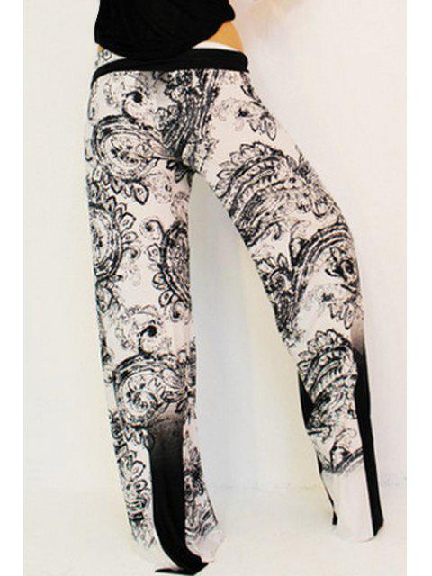 sale Black Print Elastic Waisted Exumas Pants - WHITE AND BLACK XL Mobile