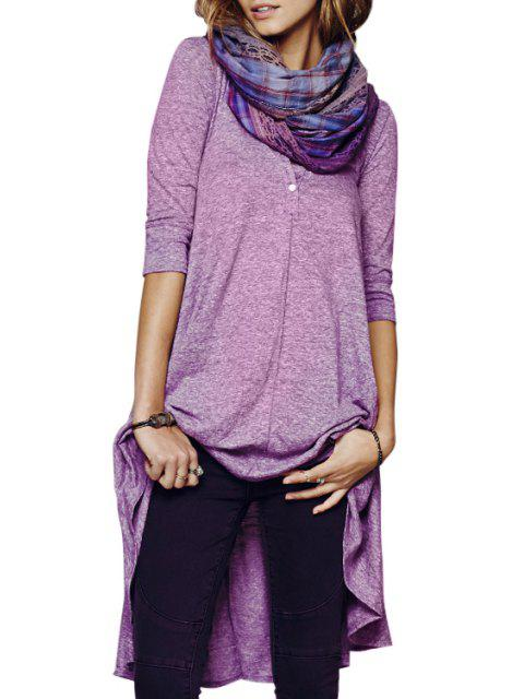 shop Solid Color Loose-Fitting Half Sleeve Dress - PURPLE L Mobile