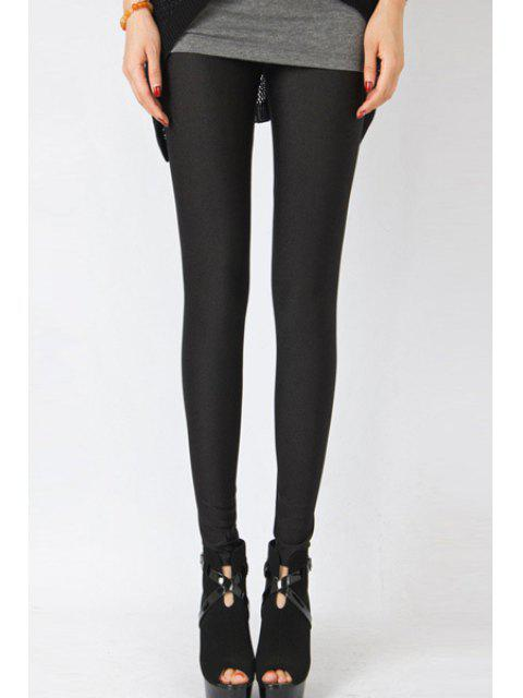 affordable Candy Color Elastic Leggings - BLACK S Mobile