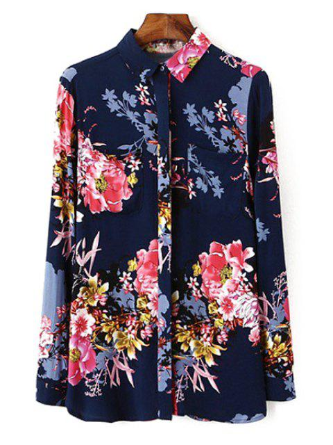 women's Polo Collar Floral Printed Long Sleeve Shirt - PURPLISH BLUE S Mobile