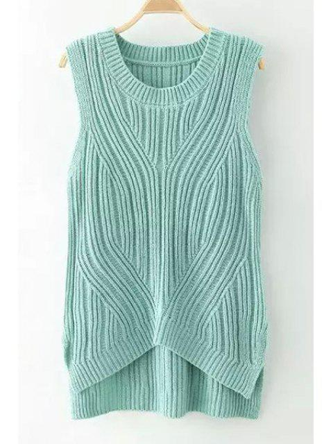 best Solid Color High Low Sleeveless Sweater - GREEN ONE SIZE(FIT SIZE XS TO M) Mobile