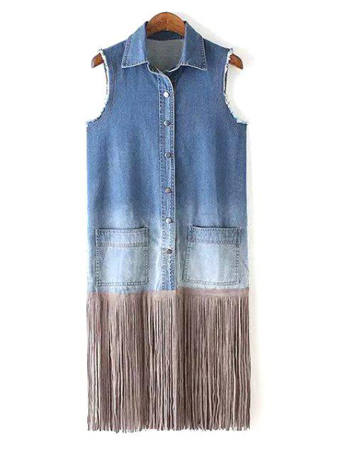 women's Bleach Wash Tassel Splicing Sleeveless Waistcoat - BLUE L Mobile