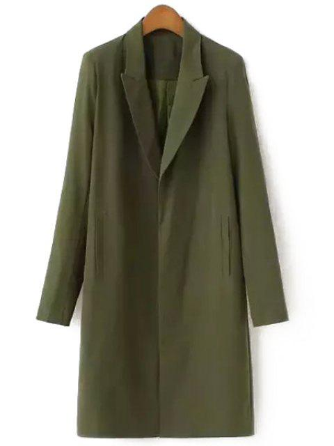 womens Lapel Solid Color Pocket Long Sleeve Blazer - ARMY GREEN S Mobile