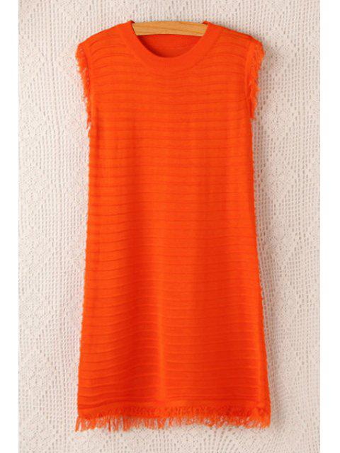 affordable Jewel Neck Fringe Solid Color Sleeveless Dress - ORANGE ONE SIZE(FIT SIZE XS TO M) Mobile