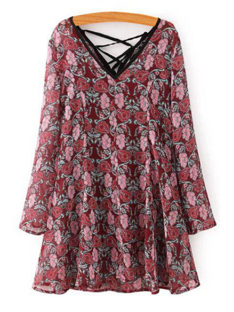 ladies Long Sleeve Tiny Floral Dress + Spaghetti Strap Tank Top Twinset - WINE RED S Mobile