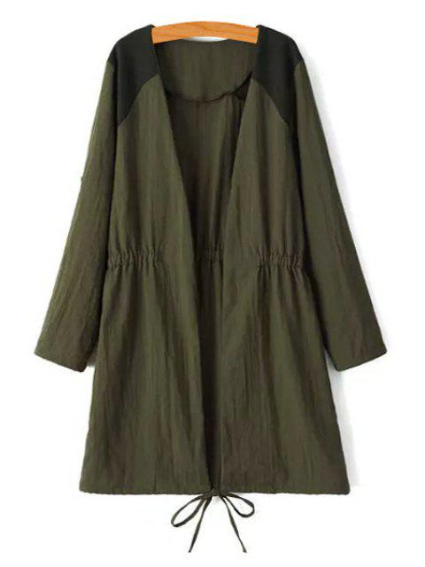 best Tie-Up Splicing Long Sleeve Trench Coat - ARMY GREEN L Mobile