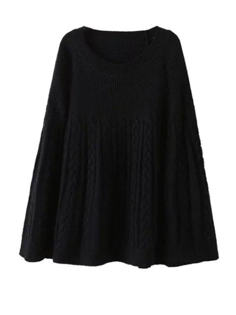 women's Plait Pattern Long Sleeve Sweater - BLACK ONE SIZE(FIT SIZE XS TO M) Mobile