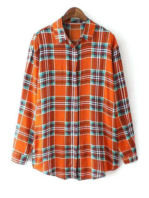 fancy Color Block Checked Long Sleeve Shirt - ORANGE L Mobile