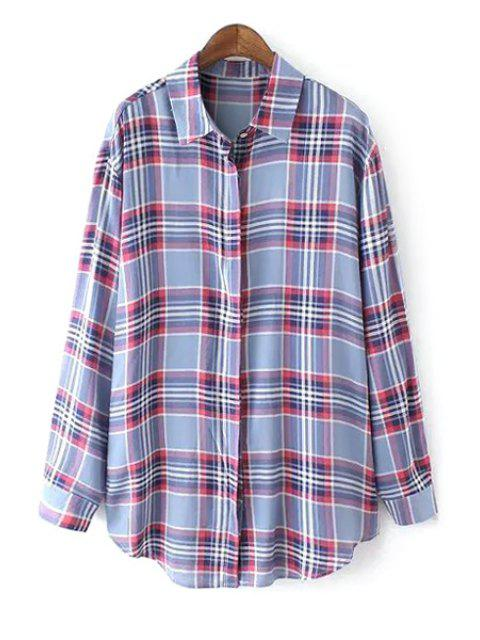 affordable Color Block Checked Long Sleeve Shirt - LIGHT BLUE M Mobile