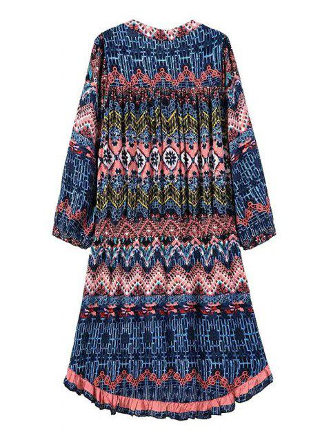 outfits Three Quarter Sleeve Printed Tunic Dress - BLUE M Mobile