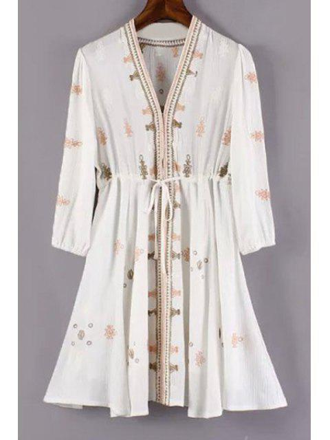 new 3/4 Sleeve Embroidered Drawstring Tunic Dress - MILK WHITE S Mobile